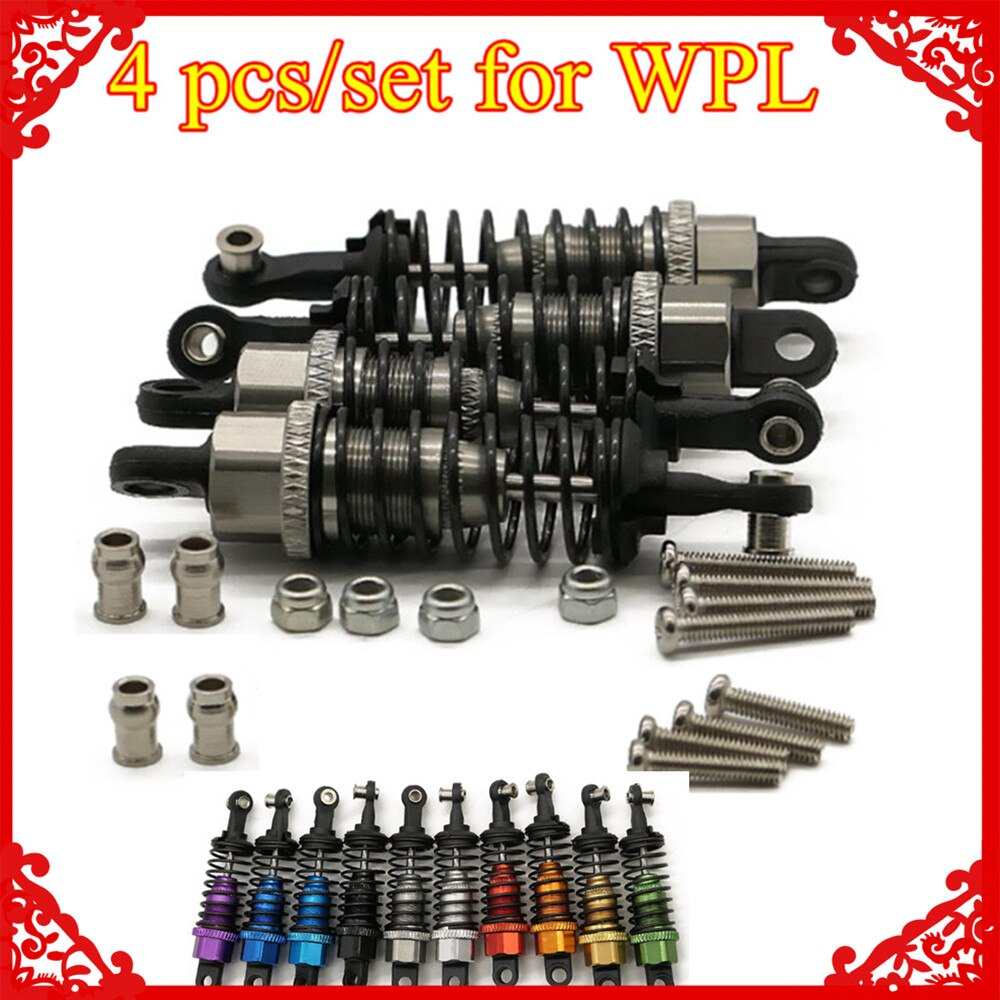 4 pçs/set x Oil filled tipo Shock absorber para 1/16 WPL Henglong C14 C24 4x4 pick-up truck crawler Atualize parts hopup