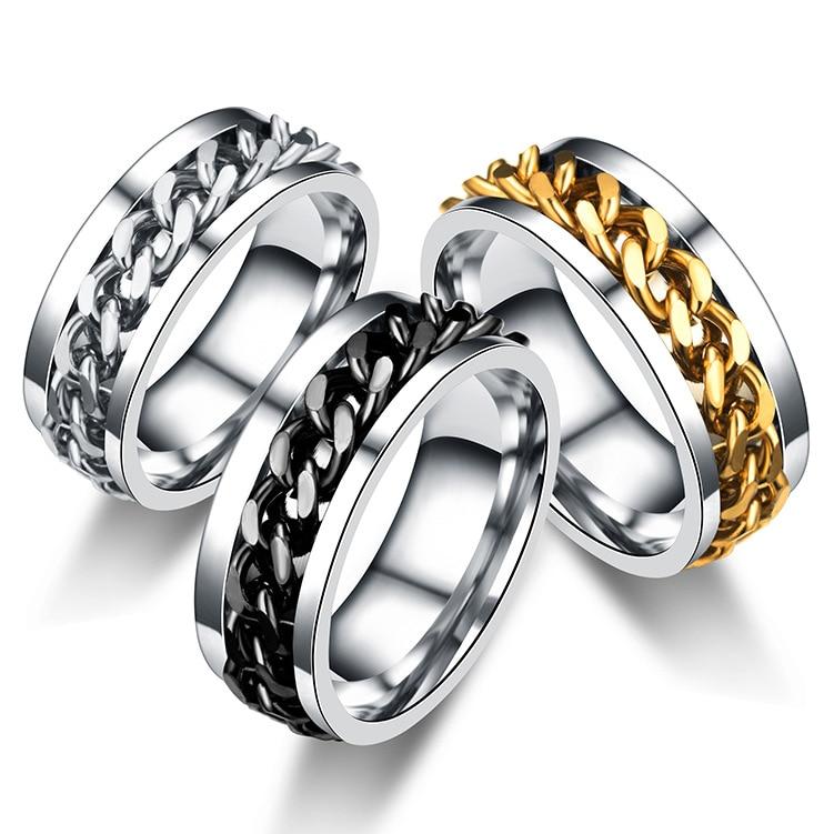 Titanium Steel Rotatable Chain Rings for Women Men Spinner Ring Multifunctional Bottle Opener