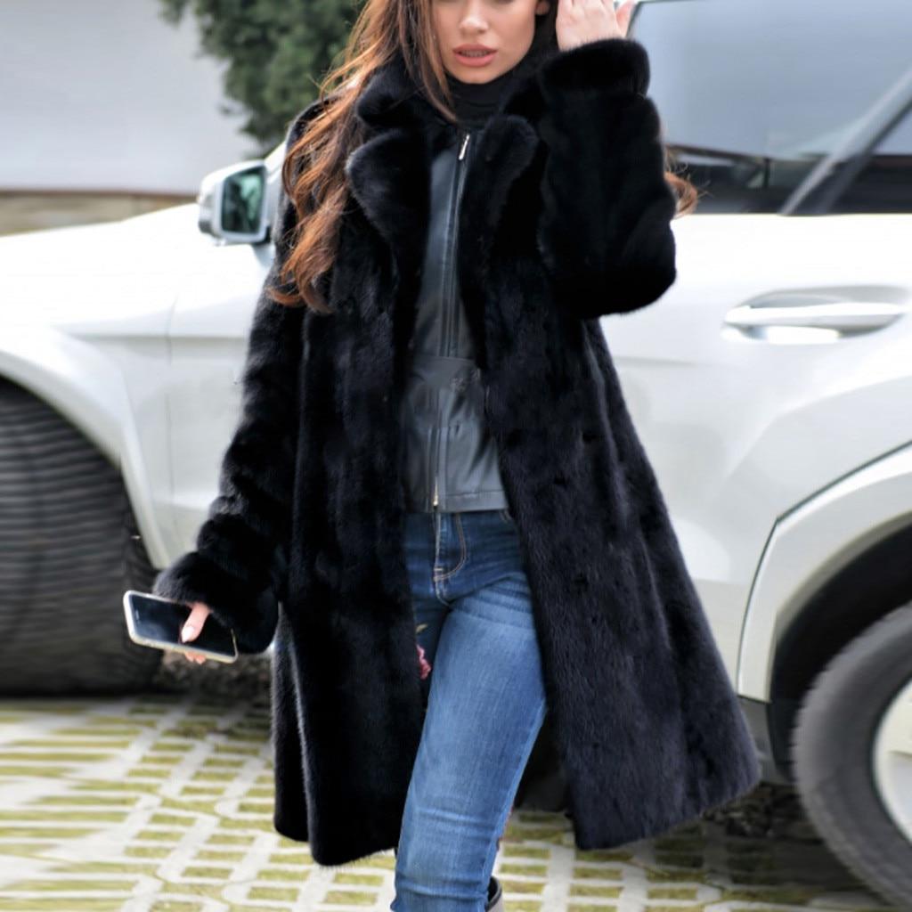 Chaqueta de piel de imitación abrigada para mujer, abrigo de peluche grueso de alta calidad, abrigo de peluche largo y mullido para invierno