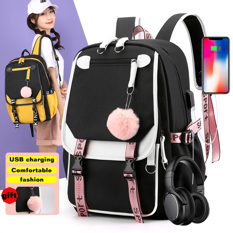 BPZMD Women girls School Backpacks Anti Theft USB Charge Backpack Waterproof Bagpack School Bags Tee