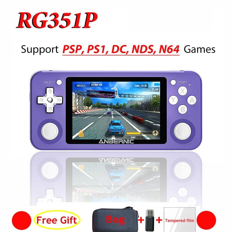 Anberonic جديد ريترو لعبة RG351P لعبة فيديو وحدة تحكم بجهاز لعب محمول صغير 64 بت 3.5 بوصة IPS شاشة 128 جرام/64 جرام لعبة لاعب PS1 RG350
