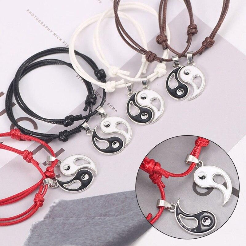 Yin Yang Tai Chi Bracelet For Women Men Chinese Traditional Culture Gossip Taichi Leather Rope Bracelet & Pendants Wristband