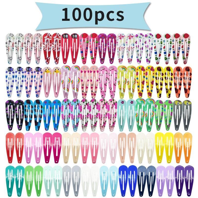 100pcs Mix Color Different Prints Random Hairgrip Hair Clip Snap Hair Clips for Children Girls Hair Accessories Women JXN005