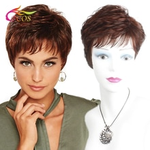 Pelucas de cabello sintético para mujeres negras, pelo corto rojo vino marrón, corte de pelo femenino, peluca Natural recta hinchada