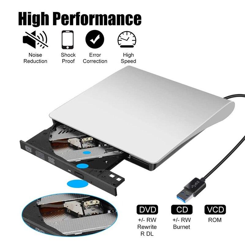 Портативный внешний DVD-привод USB 3,0, тонкий внешний DVD RW CD, записывающее устройство, устройство для чтения, проигрыватель, оптические приводы ...