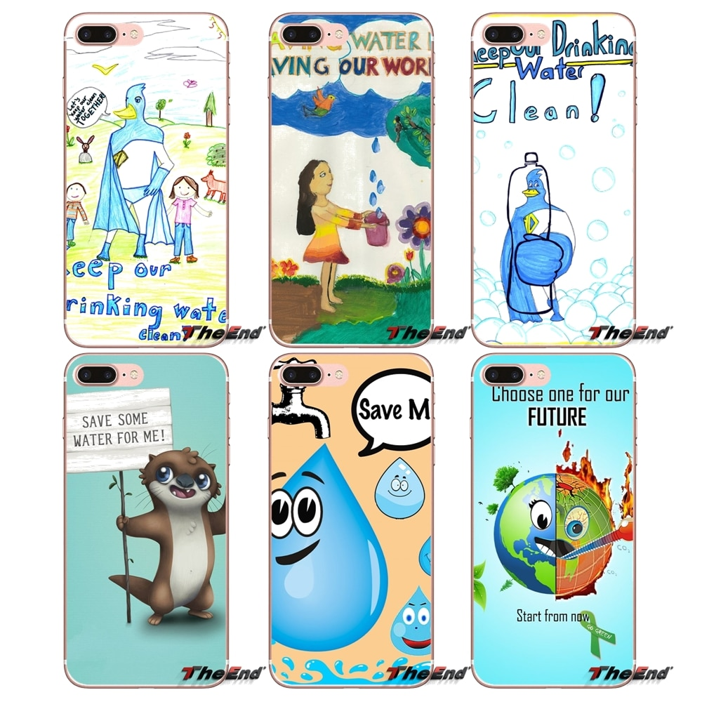 Para iPhone 4X4 4S 5 5S 5C SE 6 6S 7 8 Plus, Samsung Galaxy J1 J3 J5 J7 A3 A5 2016 2017 dibujos animados cartel en ahorrar agua suave bolsa caso