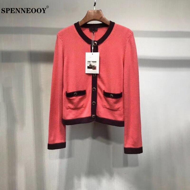 Spenneooy designer personalizado pista outono moda feminina casual camisola topos senhoras botão de manga longa rosa tricô cardigans