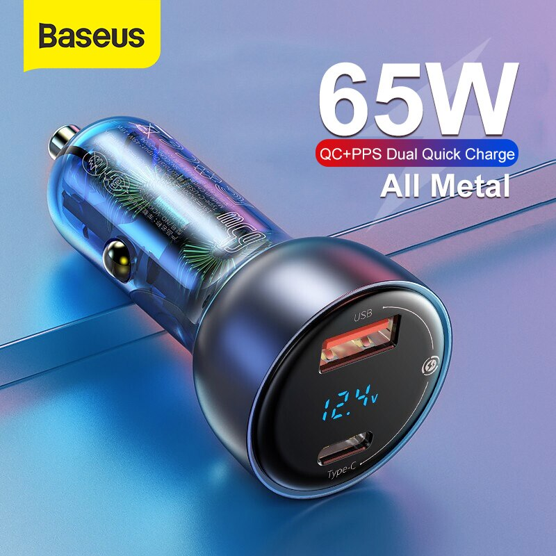 Baseus 65W  PPS Car Charger USB Type C Dual Port PD QC Fast Charging For Laptop Translucent Car Phone Charger For iPhone Samsung