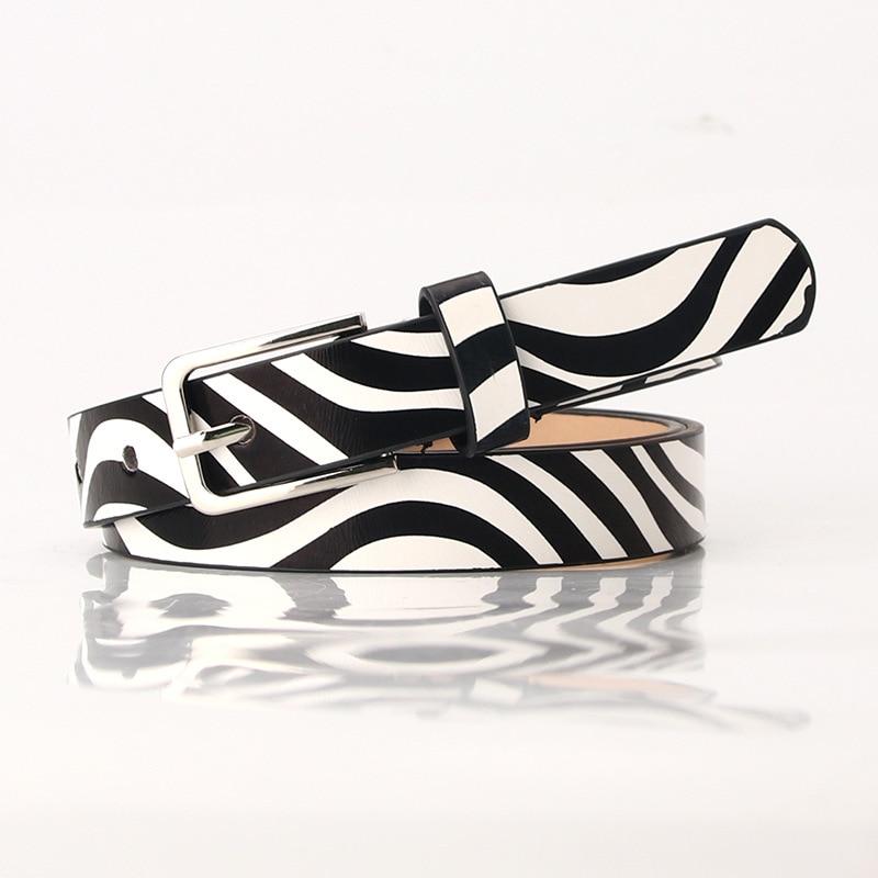 Designer Leopard Print Cow Pattern Belt for Women Black White 1.8cm Narrow Thin Leather Zebra Striped Waist Belts Female