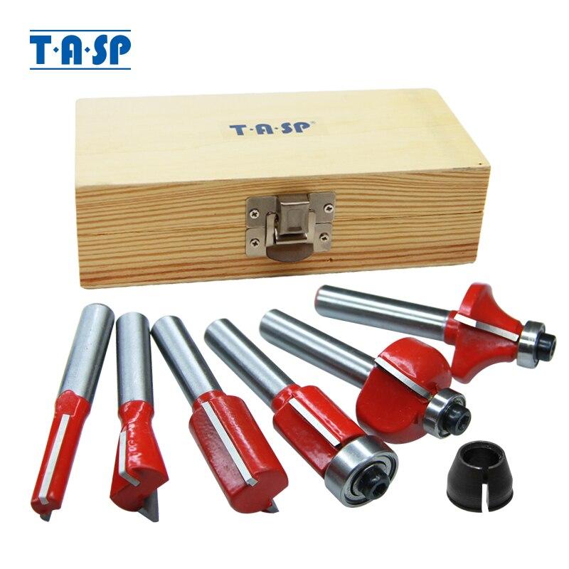 """TASP 6 uds 6,35mm 1/4 """"Conjunto de brocas de carburo de tungsteno y juego de Mandril para corte de madera con punta de corte, Kit de accesorios"""