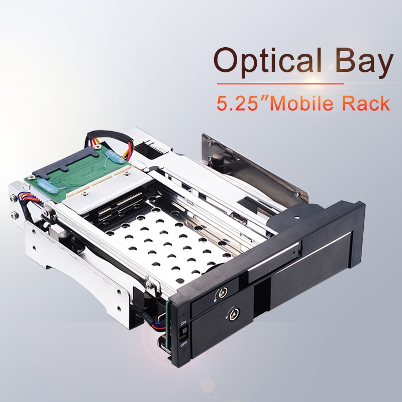 Uneatop Optical Bay Aluminum 2.5+3.5in multi-function SATA Internal Hot swap HDD Mobile Rack for dual tray-less enclosure