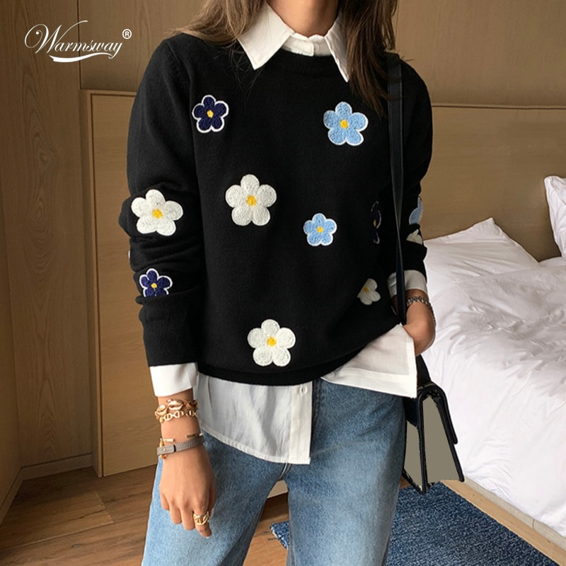 Korean Sweet Emobroidery Pullover Sweater High Quality Women Elegant O Neck Knitted Tops For Autumn Winter C-089