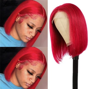 Lace Synthetic Wig Red Mid-Length Wavy Free Part Synthetic Women's Wigs Heat-Resistant Natural Hairline Wig