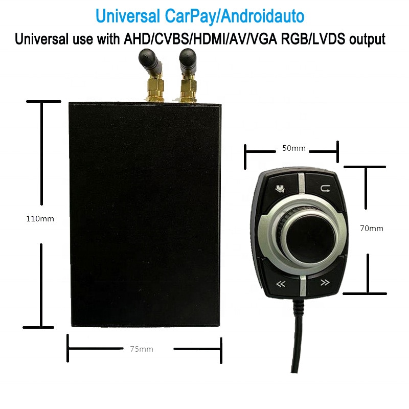 Universal Wireless Carplay Android Auto Module Box For Most of Cars Use With AHD/CVBS/HDMI/AV/VGA RGB/LVDS Output Decoder