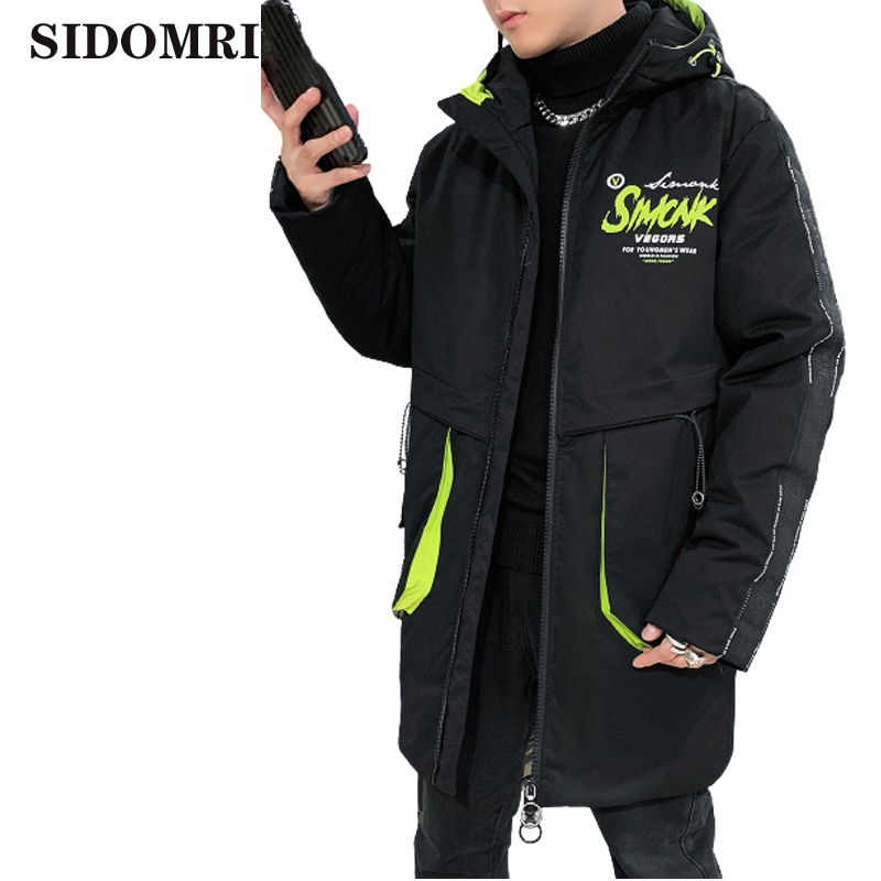 Down jacket for men winter new fashion trend letter print hooded for men 90% white duck down medium and long warm thick coat