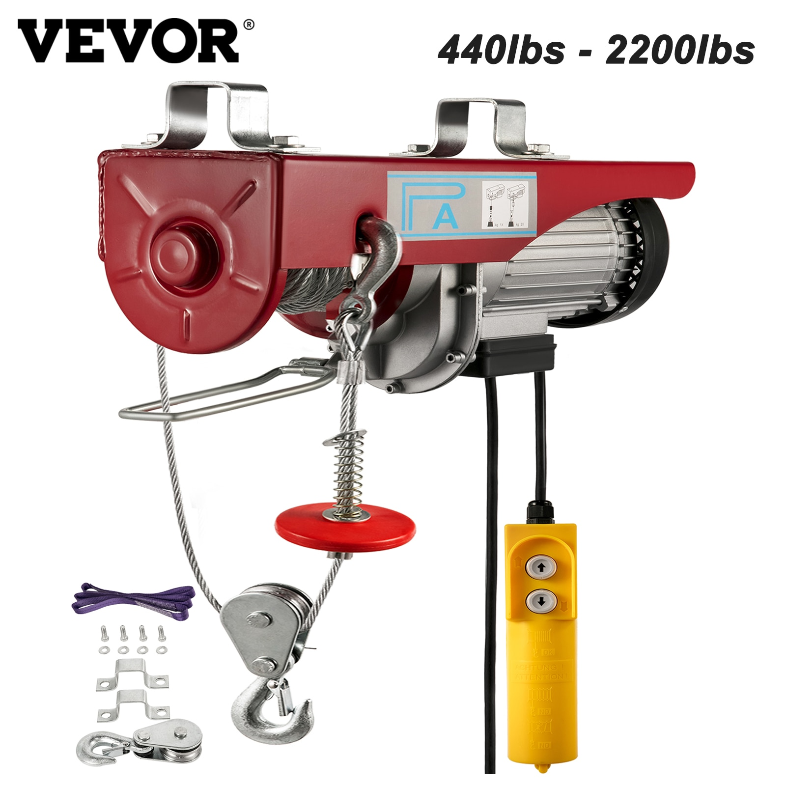 VEVOR 440 880 1320 1760lbs Electric Hoist Crane Portable Lifter Overhead Garage Winch Effort Elevator with Wired Remote Control