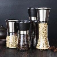 1pcsset manual salt grinder set with metal stand stainless steel pepper mill pepper shaker black pepper grinder cooking tools