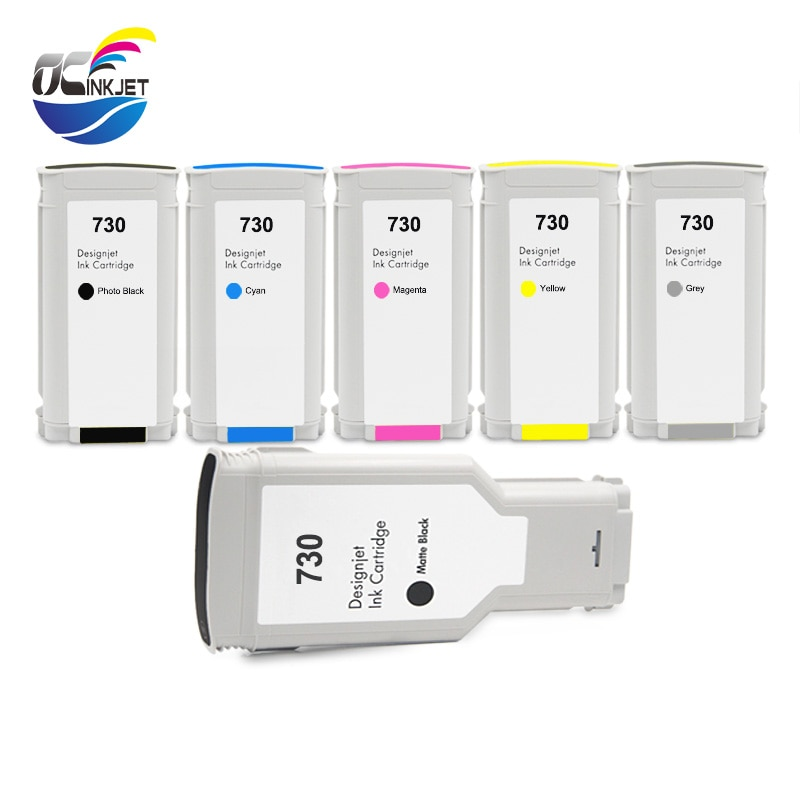 OCINKJET 730 ل HP 730 خرطوشة حبر 6 ألوان يناسب ل طابعة تصميم إتش بي T1600 T1600dr T1700 T1700dr T2600 T2600dr طابعة