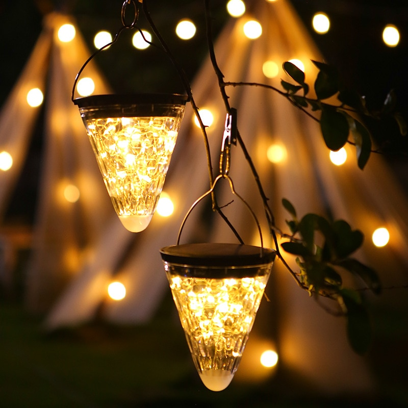 LED Copper Wire Light Outdoor Courtyard Landscape Decoration Solar Portable Waterproof Cone Star
