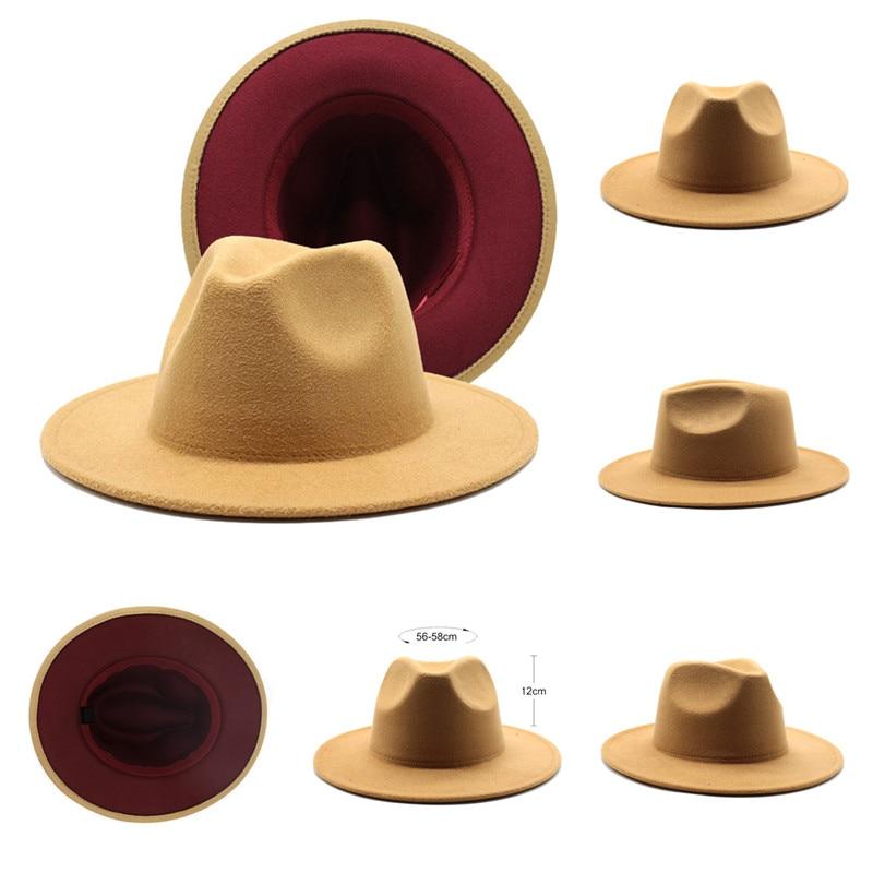 Women Fedora Hat Camel/Wine red Wide Brim Panama Simple Church Derby Top Hat Lmitation Wool Felt Hat