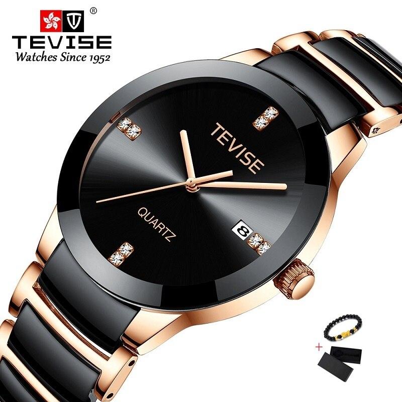 TEVISE Gold Ladies Bracelet Watch Quartz Women Watches Luxury Fashion Casual Ceramic Girl Watch Wate