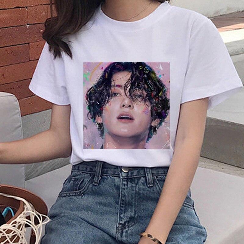 Liga Da Juventude T-Shirt de Impressão à prova de balas Ms. Coréia Harajuku JIN SUGA J ESPERANÇA JIMIN V JUNGKOOK Top Menina Dos Desenhos Animados T-Shirt