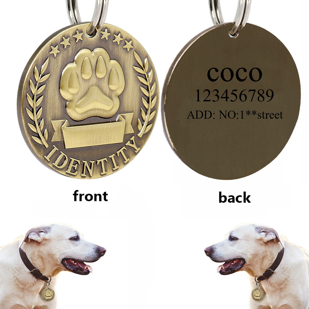 personalized id army tags necklace custom engraved stainless steel dog tag engraved customized dog tag name pendant men jewelry Custom Engraved Dog ID Tag Stainless Steel Dogs Name Tags Personalized Anti-lost Nameplate Pet Accessories Free Engraving