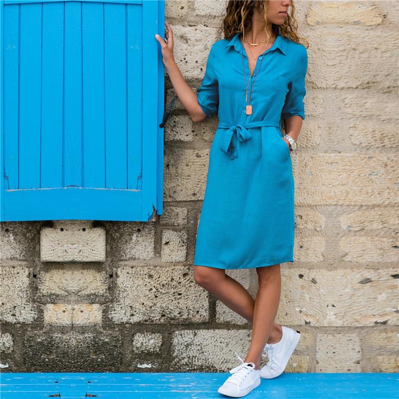 Платье Рубашка Средней Длины