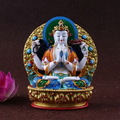 Cuatro armados Kwan Yin Guan Yin Buda estatua figura de color Altar con