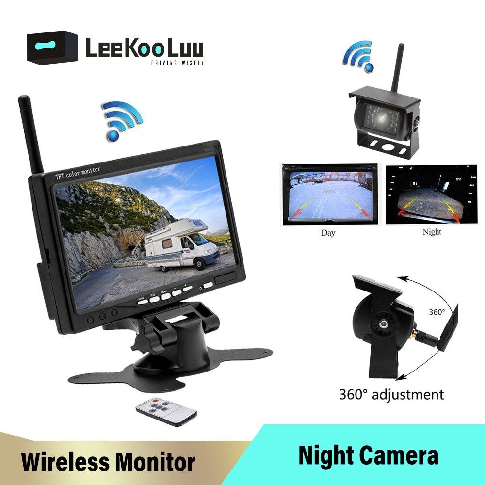"""LeeKooLuu cámaras de seguridad inalámbricas para vehículos, cámara de visión nocturna para asistencia de estacionamiento, cámara de visión trasera resistente al agua + Monitor de 7 """"para camiones RV"""