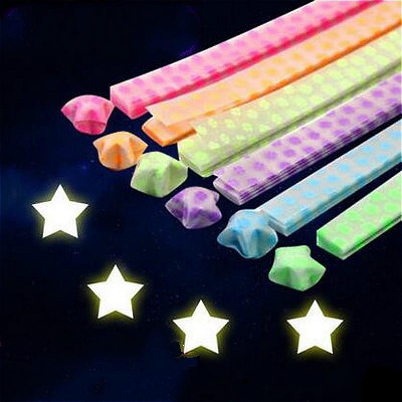 DIY creativo brillo en la oscuridad de la estrella de la suerte papel plegable de Origami, pegatinas de cinta de Scrapbooking, decoraciones para bodas, festivales y cumpleaños