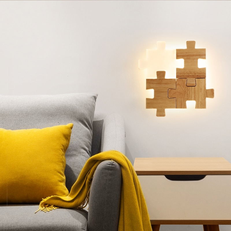 FLKL الممر الممر الإبداعية خشب متين LED نوم دراسة الجدار مصباح مزيج لغز الشمال غرفة المعيشة نمط الجدار مصباح