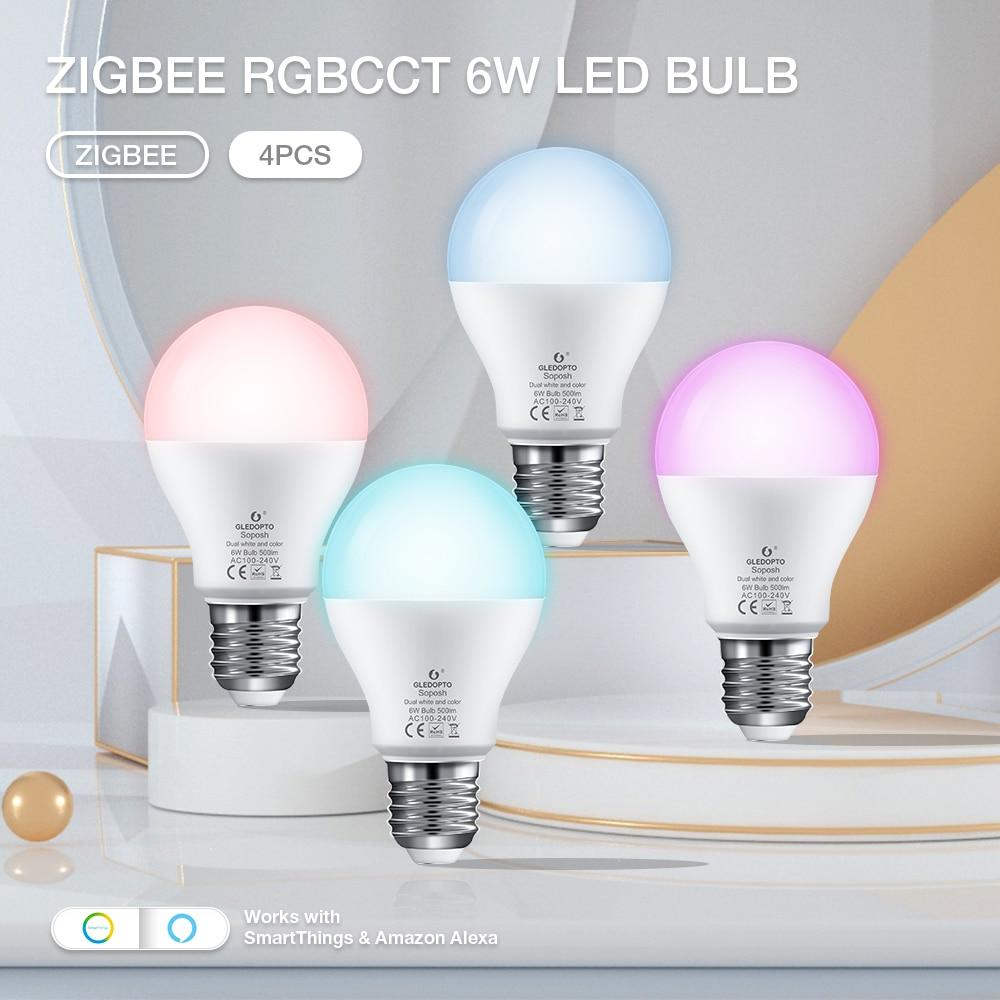 GLEDOPTO 4PCS Zigbee Bulb 6W RGBCCT Colors Light for Room AC100V to 240V LED Light Hub APP/Alexa Voice Control Lamp Bulb