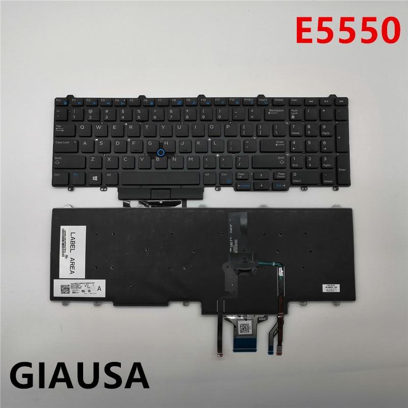 Б/у (95% Новинка) для Dell Latitude E5550 E5570 серии США Клавиатура ноутбука черная с подсветкой