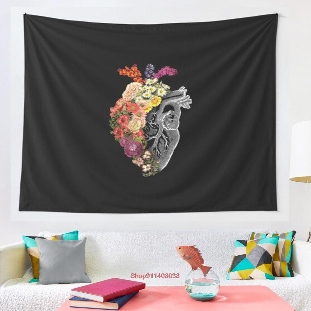 Flower Heart Spring tapestry Art Wall Hanging Tapestries for Living Room Decor