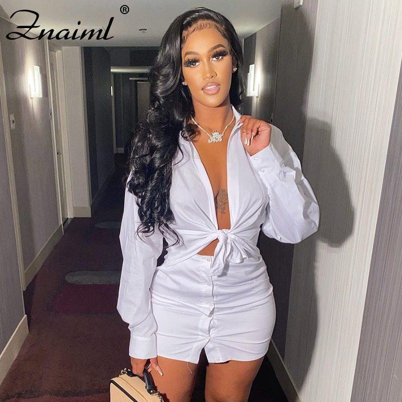 Znaiml Casual Sold Two Piece Set Women 2021 Summer Long Sleeve Crop Top+Mini Bodycon Button Skirts Sexy Party Tracksuits Outfits