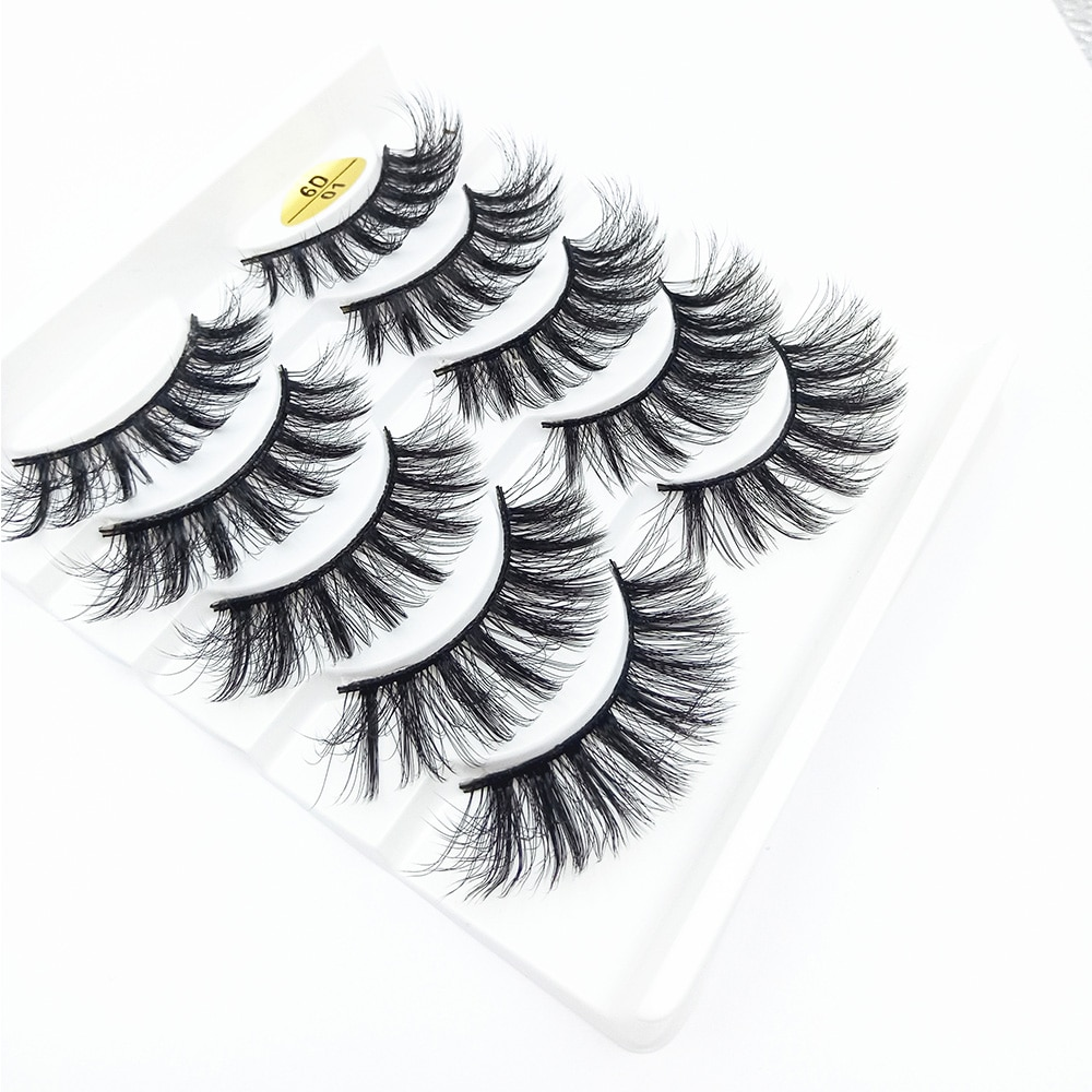 5 pares natural 6d vison cabelo cílios postiços longos wispies cílios artesanal crueldade-livre extensão criss-cruz maquiagem cílios