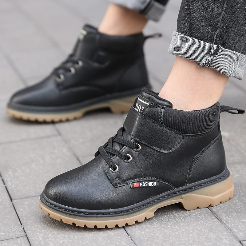 Leather Boys Martin Boots Winter Boots British Style Children Boots Big Kids Shoes Waterproof Children Casual Shoes Size 28-40