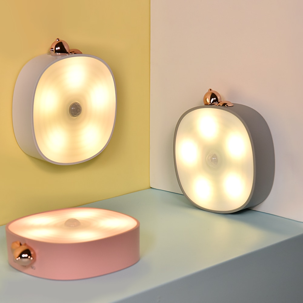 Night light LED Intelligent Sensor Wall Light Cute shape USB rechargeable warm light wall-mounted induction desk lamp,Bar lamp