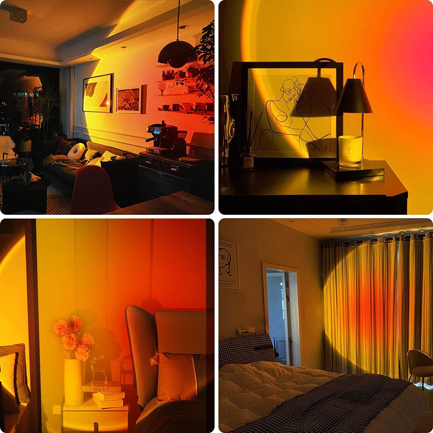 Atmosphere Projector Sunset Lamp Rainbow LED Night Light Shoot  For Bar Coffee Store Home Bedroom Background Wall Desk Lamp