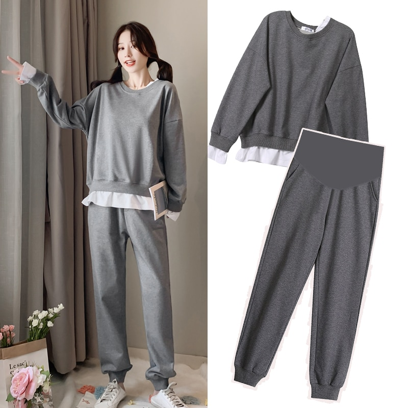 women outfit 2019 two piece set clothes top and pants spring autumn ladies tracksuits korean style plus size fashion lounge wear Fashion Pregnant Clothes Autumn Winter Suit Fashion Top Women's Loose Top and Pants Two Piece Set Maternity Sets  Plus Size