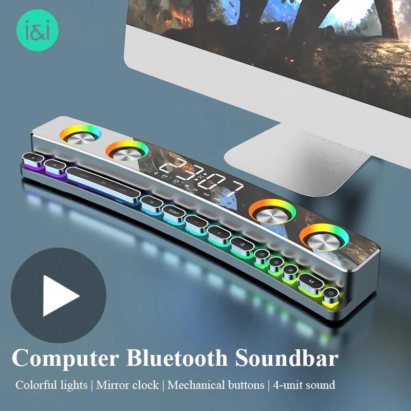For Desktop Computer Laptop PC TV Home Audio Radio FM AUX Wireless Bluetooth Speaker Soundbar Subwoofer Music Sound Bar Box Loud