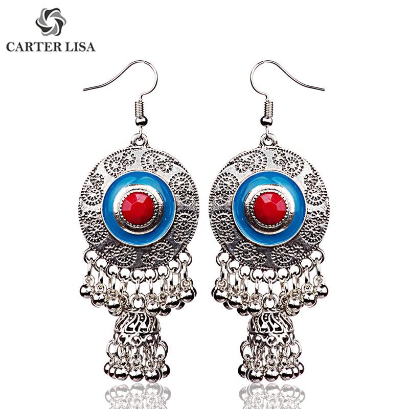 CARTER LISA Afghan Tibetan Egypt Silver Round Gorgeous Vortex Dangle Earrings for Women Jhumka Indian Turkish Jewelry kolczyki