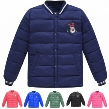 New children's jacket for boys and girl autumn and winter cartoon elk baby kids cotton jacket solid