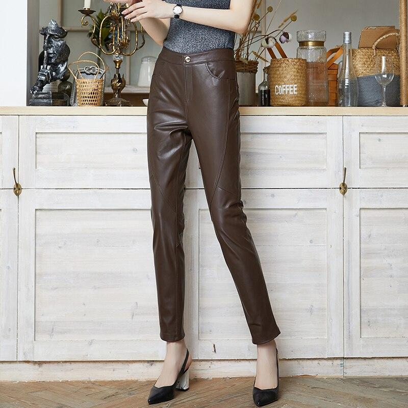 Red Leather Pants Women's Spring Autumn Elastic Genuine Sheepskin Pants OL Slim Ankle-Length Trousers Women Pencil Pants