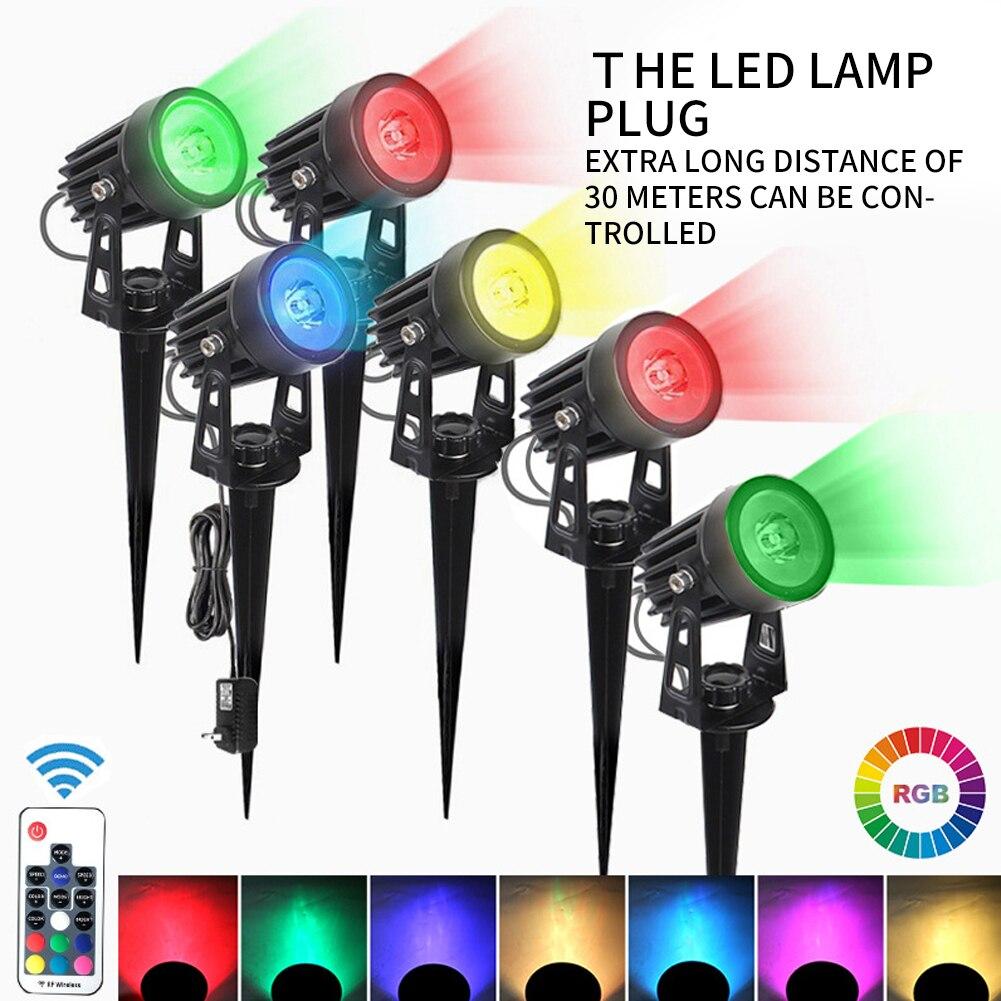 6 في 1 LED حديقة الأضواء 6 ألوان تغيير مع جهاز التحكم عن بعد في الهواء الطلق مقاوم للماء سبايك أضواء حديقة مسار مصباح بعمود