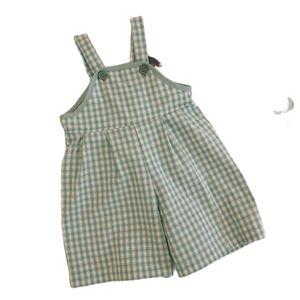 Cute plaid sleeveless Baby jumpsuit cotton bib pants girls 2021 new P4429