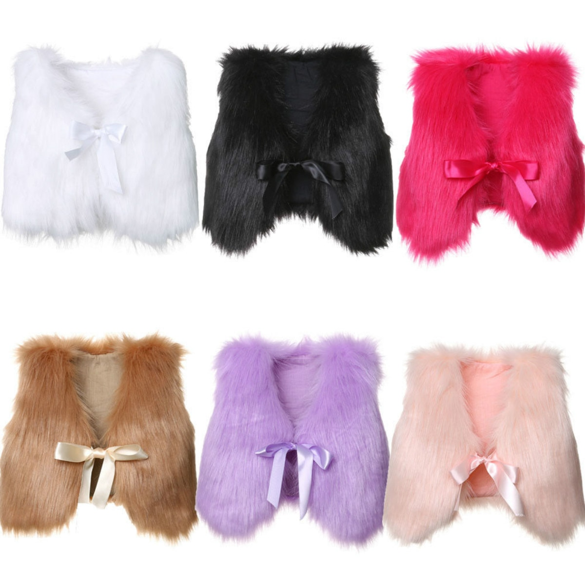 Bebé niños niñas Chaleco de piel sintética Chaleco de invierno cálido chaqueta abrigo ropa de exterior