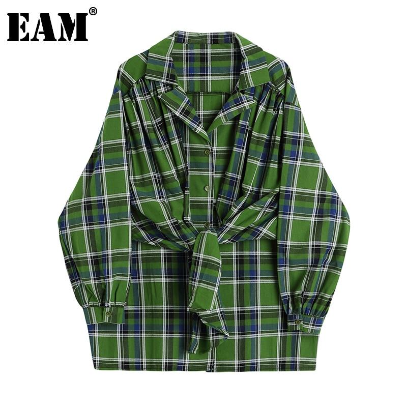 [EAM] Women Big Size Plaid Vintage Tie Blouse New Lapel Long Sleeve Loose Fit Shirt Fashion Tide Spring Autumn 2021 1DD1006