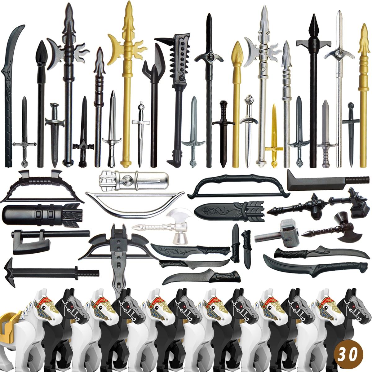 Single sell   duploed military  mediaeval times golden weapons for 4cm mini dolls MOC building blocks brick toys for children